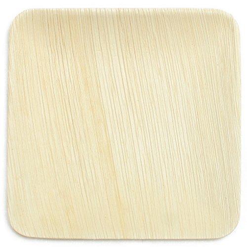 Leaf & Fiber 100 Count Elegant and Fallen Square Palm Leaf Plate, 6-Inch
