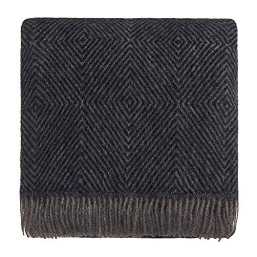 URBANARA 140x220 cm Wolldecke 'Gotland' Dunkelblau/Grau — 100prozent Reine skandinavische Wolle — Perfekt als Überwurf, Plaid oder Kuscheldecke für Sofa & Bett — Warme Decke aus Schurwolle mit Fransen