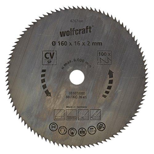 Wolfcraft 6267000 6267000-1 Hoja de Sierra Circular CV, 100 dient, Serie Azul diam. 160 x 16 x 2 mm, 160x16x2mm