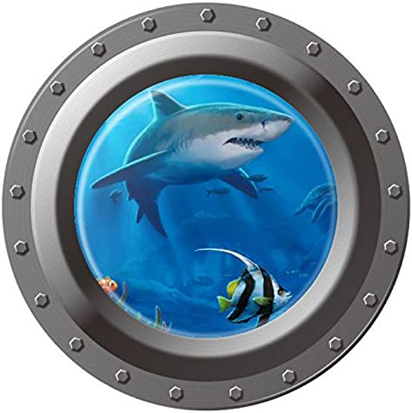 BooDecal Unsersea Series Porthole Fake Window Removable Wall Decals Swimming Shark Art Sea Fish Waterproof Wall Stickers For Childrens Playroom Nursery Bathroom 18 Inches X 18 Inches