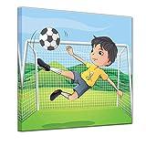 Wandbild Kinderbild Kicker Cartoon - 60 x 60 cm quadratisch Bilder als Leinwanddruck Fotoleinwand Kinder Fussballer vor einem Tor