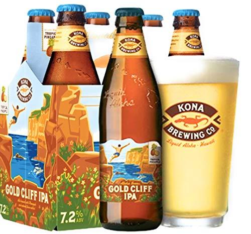 4 Flaschen Kona Bier Gold Cliff IPA a 0,355l aus Hawaii Aloha Series Tropical Pineappel Ananas mit 7,2% Vol. inc.1.00€ EINWEG pfand