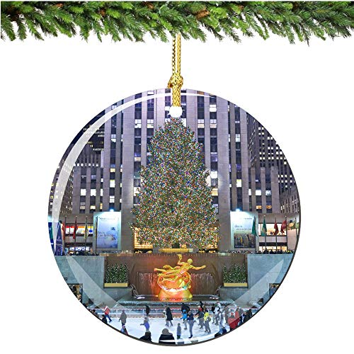 Rockefeller Center Christmas Ornament Porcelain Ornament Personalized with Name and Year 3' Ceramic Ornament