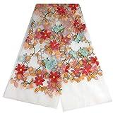 Tessuto floreale in pizzo africano Tissu Telas, abiti da sposa fai da te, pizzo, abbigliamento da cucito patchwork, tessuto tecido, bianco sporco, 90 cm x 130 cm