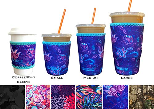 Koverz Neoprene Iced Coffee Sleeve - Insulator Sleeve for Cold Beverages, Neoprene Cup Holder - Starbucks Coffee sleeve, McDonalds Coffee sleeve, Dunkin Coffee sleeve - Large Violet Whimsy
