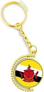 Brunei National Flag Asia Country Metal Key Chain Ring Golden Keyholder