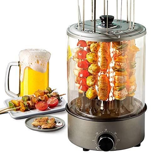 CHUIX Vertical eléctrico Barbacoa Grill Kebab Máquina automática giratoria de la Barbacoa sin Humo de Horno rotatorio de Hogares Cordero Pinchos, Negro