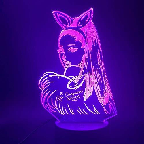 3D Nachtlicht Promi Sänger Ariana Grande Poster 3D Led Nachtlicht Katze Mädchen Fans Geschenk Für Innenraum Dekorative Nachtlicht Tischlampe 3D