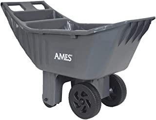 AMES 2463875 Easy Roller Poly Lawn and Garden Cart with Integrated Tool Tray, 4-Cubic Foot Capacity