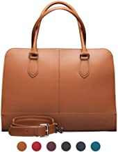 Su.B.dgn 13.3 Inch Laptop Bag with Trolley Strap for Women - Split Leather - Briefcase, Handbag, Messenger Bag - Made in Italy - Brown