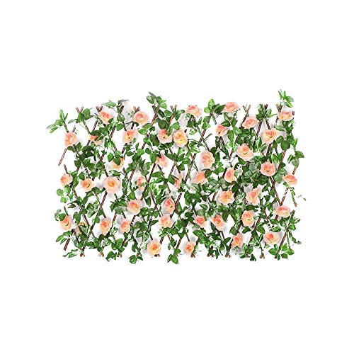 RecoverLOVE Trellis Fence Panels, Expandable Privacy Screening Panel for Gardens, Balcony and Terraces, Expanding Trellis Fence Retractable Fence with Artificial Flower and Leaves Fence