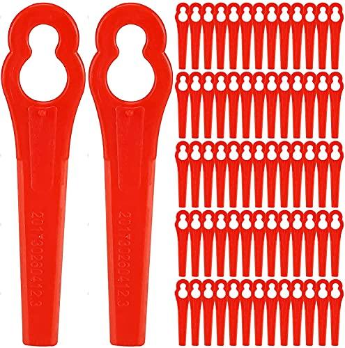 Nuyoah Ersatzmesser Rasentrimmer Messer 120stk für Rasentrimmer Akku-Rasentrimmer Kunststoffmesser Trimmer Messer für Akku-Rasentrimmer (Rot)