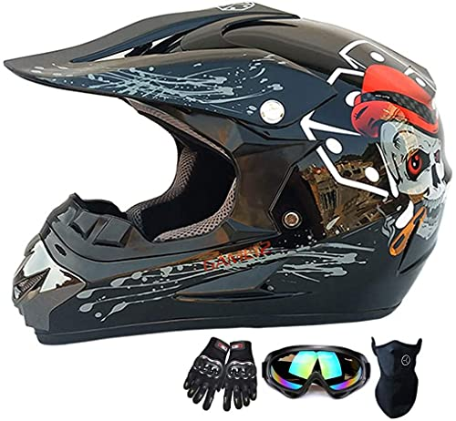 Juego de casco de motocross para motocicleta con máscara de SUV, gafas y guantes, para adultos jóvenes, para bici de montaña, todoterreno, juego de 4 piezas (color: negro, tamaño: M)