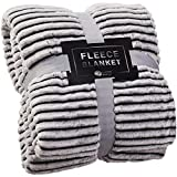 GREEN ORANGE Fleece Blanket Queen Size – 90x90, Lightweight, Black and White – Soft, Plush, Fluffy, Warm, Cozy – Perfect Full Size Throw for Couch, Bed, Sofa