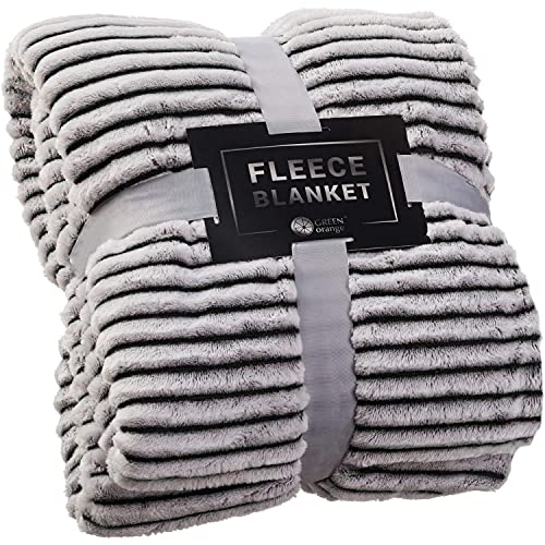 GREEN ORANGE Fleece Throw Blanket for Couch – 50x60, Lightweight, Black and White – Soft, Plush,...