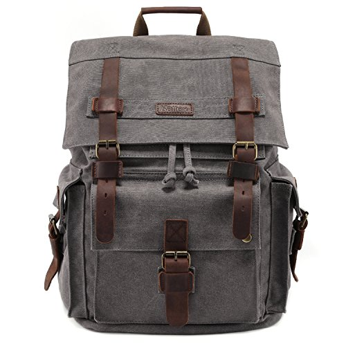Kattee Men's Leather Canvas Backpack Large School Bag Travel Rucksack Gray
