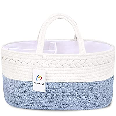 Conthfut Baby Diaper Caddy Organizer 100% Cotton Rope Nursery Storage Bin for Boys and Girls Large Tote Bag & Car Organizer with Removable Inserts Baby Shower Gift Basket from Conthfut