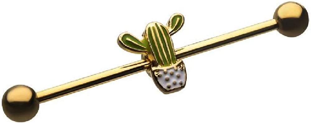 Pierced Owl Gold Plated Cactus Stainless Steel Industrial Barbell