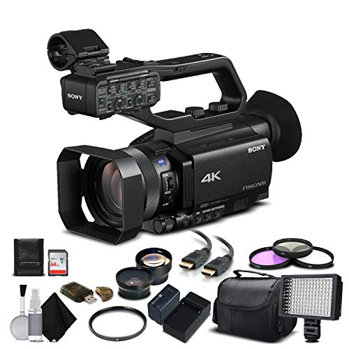 Sony HXR-NX80 Full HD NXCAM with HDR and Fast Hybrid AF (HXR-NX80) with 64GB Memory Card, Extra Battery, UV Filter, LED Light, Case, Telephoto Lens, Wide Angle Lens, and More - Advanced Bundle