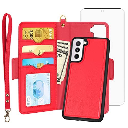 """Skycase Galaxy S21 Case, Samsung Galaxy S21 Wallet Case with Screen Protector,[2 in 1] Magnetic Detachable Flip Folio Wallet Case with Card Slots and Hand Strap for Samsung Galaxy S21 6.2"""" 2021,Red"""