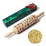 SveBake Mattarello Decorativo per Biscotti - Natalizio Goffratura mattarello in Legno