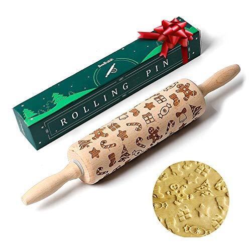 SveBake Nudelholz mit Muster Weihnachten aus Holz 2020 - Motiv Teigroller Buchenholz mit Prägung für Kekse, Teig, Mürbteig, Töpfern | Lebkuchenmann, Krücke, Weihnachtsbaum