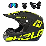 LLCX Adulto Casco de Motocross/Gafas/máscara/Guantes Casco de la Moto,Matte Black Fluorescent,M