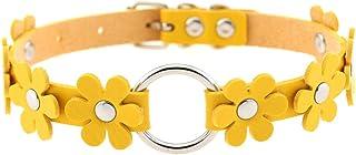 Women Fower Leather Choker Necklace Girls Rivet Collar Necklace Adjustable