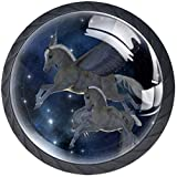 Round Door Cabinets Knobs(4-Pack),A Pegasus Mare and Foal Fly Among The Stars,Modern Dresser/Drawer/Cupboard Knobs and Handles,Durable