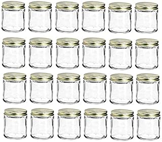 Nakpunar 24 pcs 6 oz Straight Sided Glass Jars with Lids (Gold, 24)