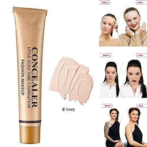 Little Gold Tube Foundation Anti-cernes, Full Makeup Cover Cream Brighten Skin Skin Makeup Foundation, Long Lasting Oil Control Waterproof Correaler 30g (Blanc ivoire, 1pcs)