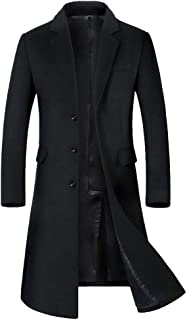 GREFER-Mens Trench Coat Stylish Slim Fit Long Jacket Classic Notched Collar Single Breasted Big and Tall Winter Coats