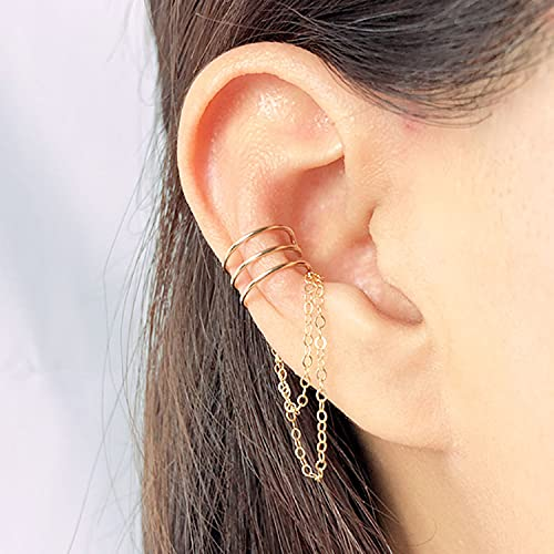 HOVELANGHD Pendiente de Envoltura de Oreja Hecha a Mano 14K Gold Filled Wire Cartilage Ear Cuff Double Ear Cuff Sin Piercing Pendiente de cartílago Falso