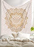 AUNERCART New Launched Twin White Gold Ombre Mandala Tapestry Boho Wall Hanging Gypsy Tapestries Indian Mandala Wall Art Hippie Bohemian Bedspread Blanket