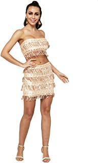 TS Two Piece Strapless Short/Mini Sequined Cocktail Party Dress with Sequin Couture?