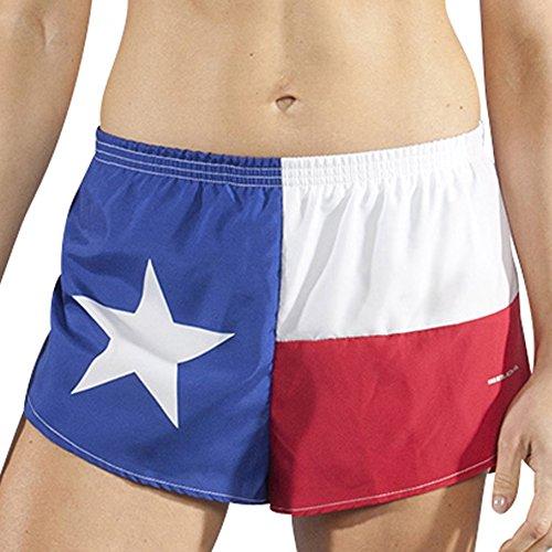 Boa Womens 1' Elite Split Printed Running Short (1001CP)(Texas Flag, Large)