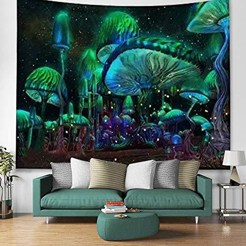 "Fantasy Mushroom Tapestry,PsychedelicTrippy Mushroom Fairytale Enchanted Forest Magical Mushrooms Scenery Tapestry For Bedroom Living Room Dorm. (Multi, 78""L*58""W)"