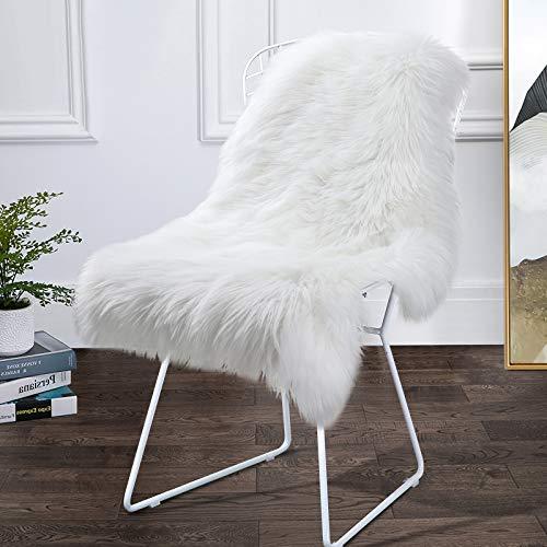Softlife Faux Sheepskin Rug - 2' x 3' Shaggy Fur Area Rug Sofa Cover Seat Cushion Pad Carpet for Bedroom Living Room Decor, White