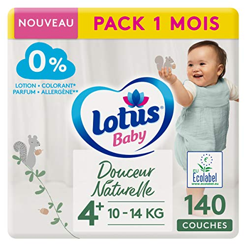 LOTUS BABY Douceur Naturelle - Couches Taille 4+ (10-14 kg) Pack 1 mois - 140 couches
