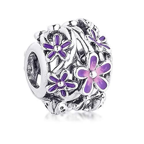 PANDOCCI 2021 primavera púrpura calado margarita flor perla 925 plata DIY se adapta a pulseras originales Pandora encanto joyería de moda