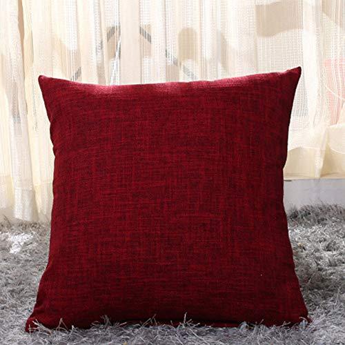 XULIM Fundas de almohada de lino de color sólido decorativo funda de cojín funda de almohada moderna para sofá de café, rojo burdeos, 50 cm x 50 cm, 4 piezas