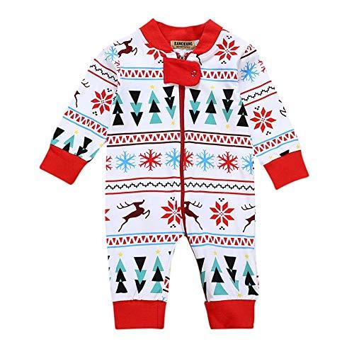 Surpyjama en Cotton Christmas Bébé - du Nourrisson à 18 Mois - Pyjama Fille et Garçon - Vêtements Bébé Fille et Garçon Chauds Bébés Garçons Filles Noël Barboteuses Combinaison Longue Manche