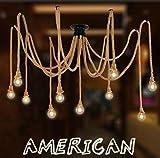 Araña de araña de cuerda de cáñamo estilo retro sala de estar comedor bar balcón / lámparas no incluyen bombillas