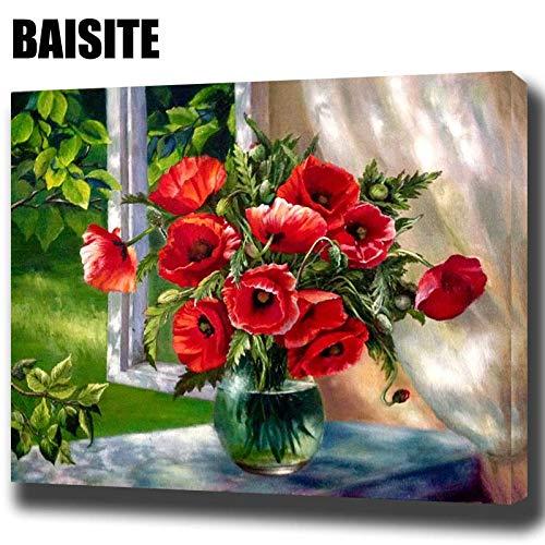 Rahmenlose ölgemälde Baisite D Öl Ng Durch Zahlen Rote Blumen Fensterbilder Leinwand Ng Für Wohnzimmer Wandkunst Home 50x70cm