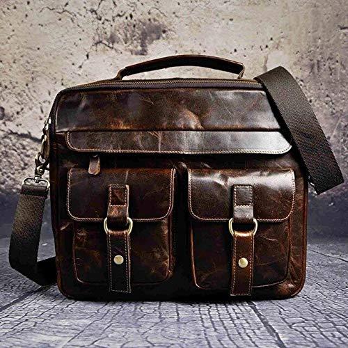 RSZHHL - Maletín de piel para hombre, estilo antiguo, estilo retro, de 13 pulgadas, maletín portable, bolsa de un hombro, b207, café (Marrón) - 6927851869003