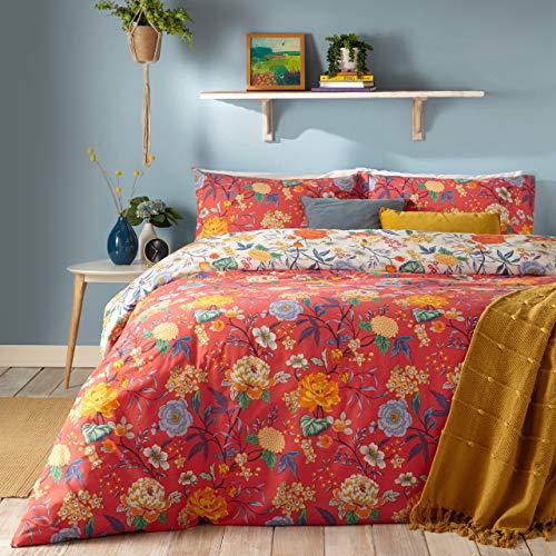 furn. Azaela Duvet Cover and Pillowcase Set, Red, Single