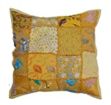 iinfinize Indian Pillow Cover Patchwork Cushion Cover Traditional Embroidery Pillow Flower Design Pattern Pillowcase Yellow Pillow 16' Inch Cotton Cushion Pillow Decorative Pillow Sofa Sham Pillow Living Room Cushion Cover