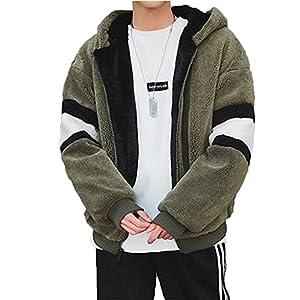 Lisa Pulster モッズコート メンズ アウター 裏起毛 モコモコ 厚手 スプライス フード付き カップル 暖かい 冬 ゆったり 柔らかい ファッション カジュアル (グリーン, XL)