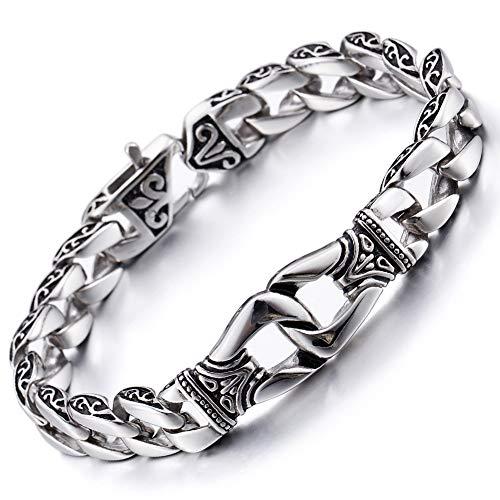 Yorwell Herren Armband Edelstahl Armband Armreif Herren Silber Armband Titan Stahl Schmuck Herren Mit Geschenkscha, 22cm Länge