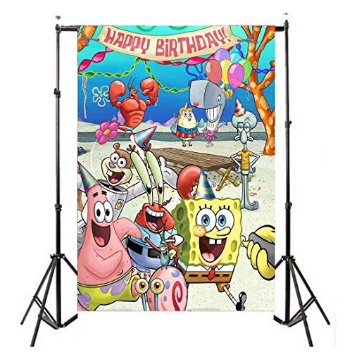 5x7ft Spongebob Party Supplies Backdrop for Kids Birthday Party Background or Cake Table Decorations FT029